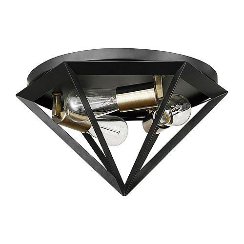 Plafonnier semi-encastré de collection Merton à 3 lumières en bronze foncé avec prise en laiton