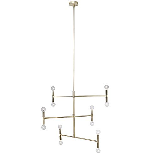 Aldred 12-Light Matte Brass Branch Chandelier, Bulbs Included