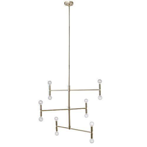 """Chandelier """"à branches"""" de collection Aldred à 12 lumières en laiton mat, ampoules incluses"""