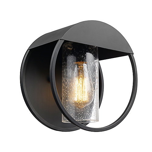 Neruda Matte Black Outdoor Indoor Wall Sconce with Seeded Glass Shade