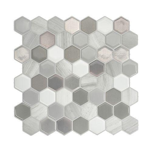 Haxagone Travertino Multi 9.76-inch W x 9.35-inch H Peel and Stick Decorative Wall Tile (4-Pack)
