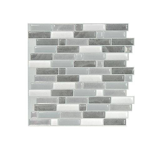 Tuiles décoratives Peel and Stick pour murs, 9,73 po x 9,36 po, Crescendo Agati, gris