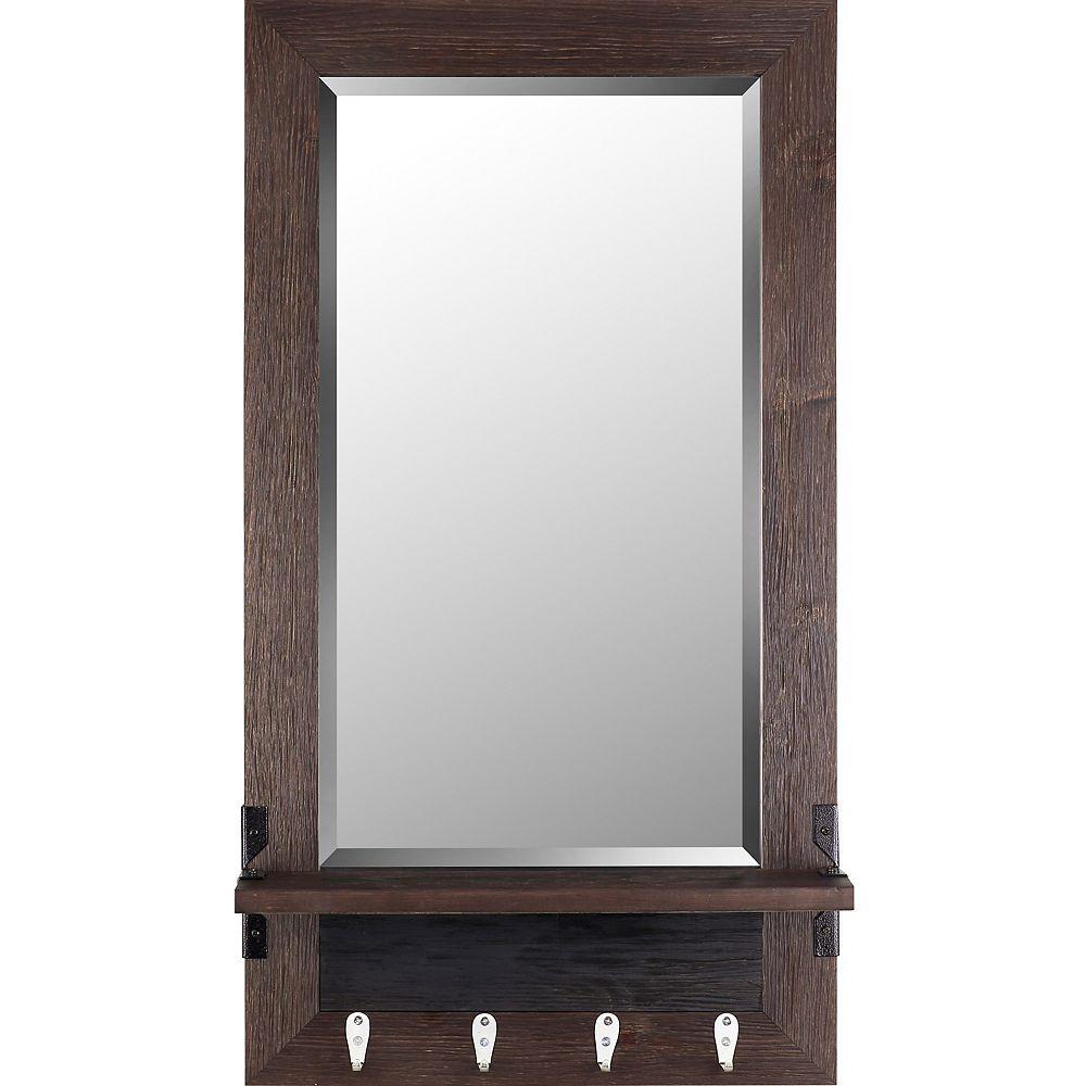 Art Maison Canada 20.75x37.75 Mirror Shelf Brown Bevel Mirror