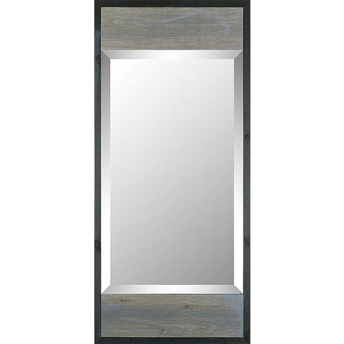 Art Maison Canada 17.5x38.75 W bois gris noir garniture moderne Mirr biseauté miroir