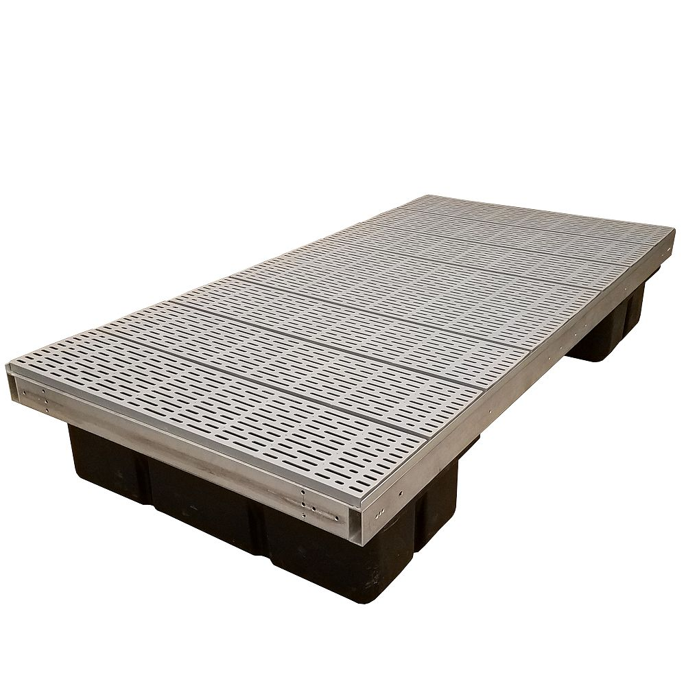 Patriot Docks 4 ft. x 8 ft. Low Profile Floating Platform Section with Poly Decking