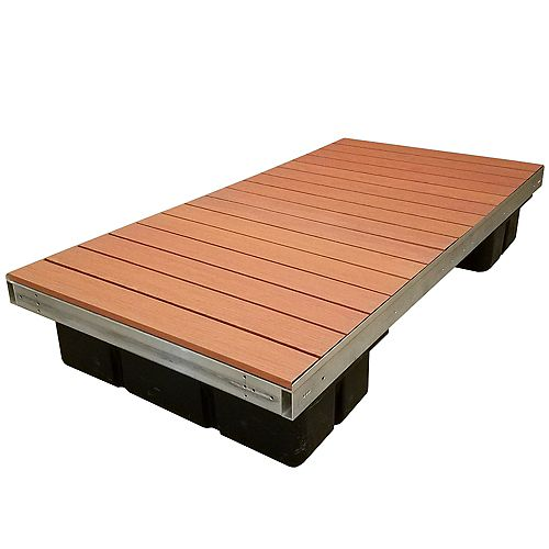 Section de plateforme flottante, profil bas, aluminium peint brun de 1,22m x 2,44m (4pi x 8pi)