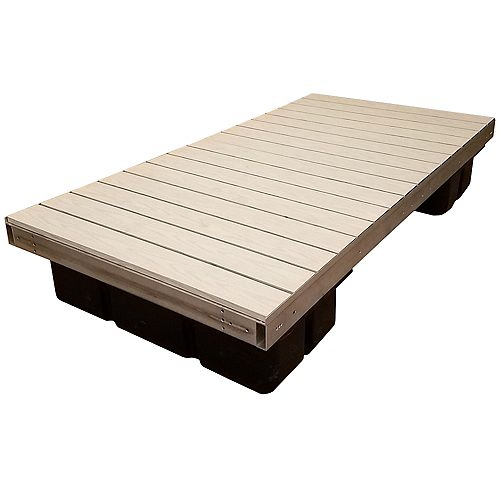 4 ft. x 8 ft. Low Profile Floating Platform Section with Gray Aluminum Decking