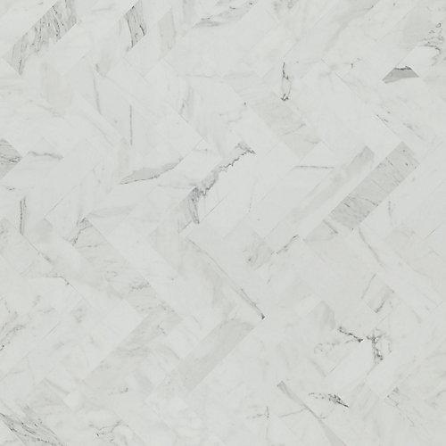 White Marble Herringbone 96-inch x 48-inch Laminate Sheet in Matte Finish