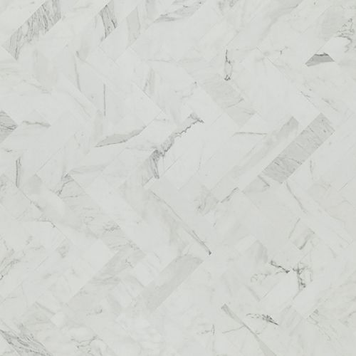 White Marble Herringbone 4 ft. x 8 ft. Laminate Sheet in Matte Finish 9310-58