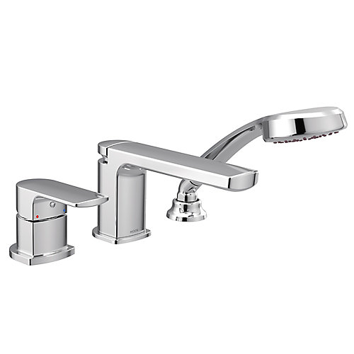 Rizon Single-Handle Low Arc Roman Tub Faucet Includes Hand Shower in Chrome (Valve Sold Separately)