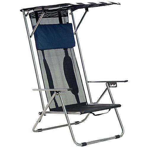 Chaise Pliante Inclinable Avec Auvent - Marine/Blanc