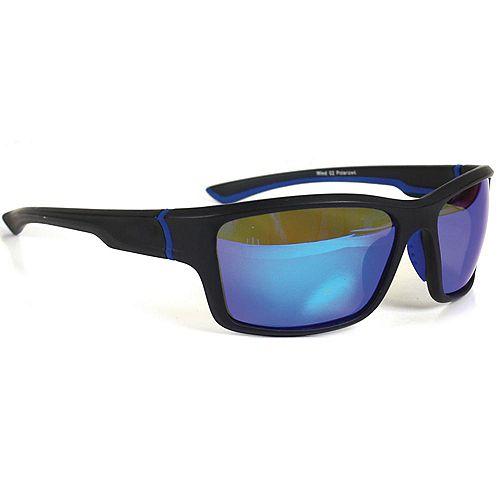 Lunettes de soleil polarisées Noir sport avec accent bleu