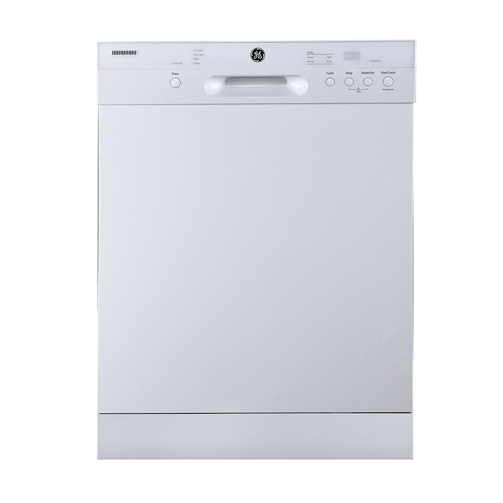 GE Built-in Tall Tub Dishwasher with Stainless Steel Interior in White