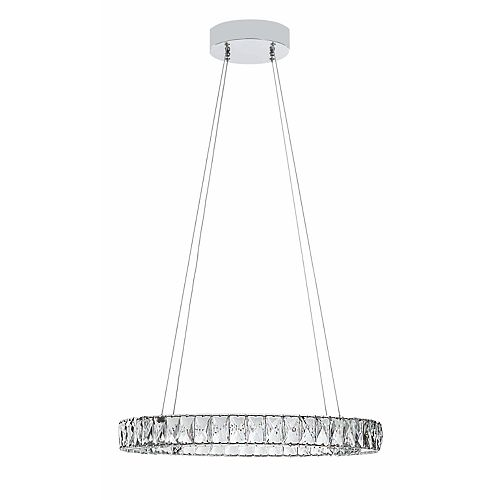 Integrated LED K9 Crystal Ring Pendant Light Fixture with Chrome Finish