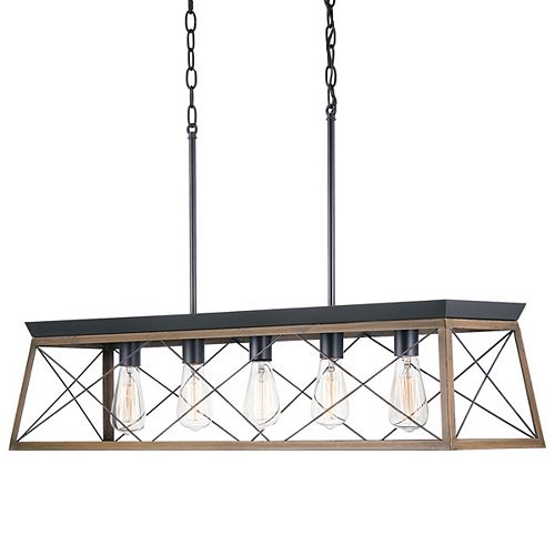 Briarwood 5-Light Black Chandelier with Rich Oak Accents