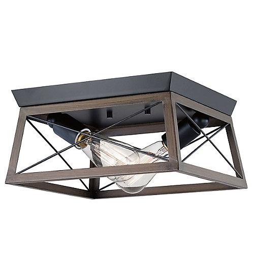 Briarwood 2-Light Black Flushmount Light Fixture with Rich Oak Accents