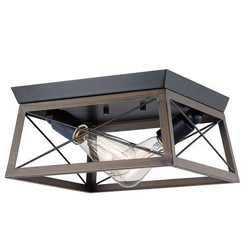 Plafonnier Briarwood à 2 ampoules, noir avec riches accents de chêne