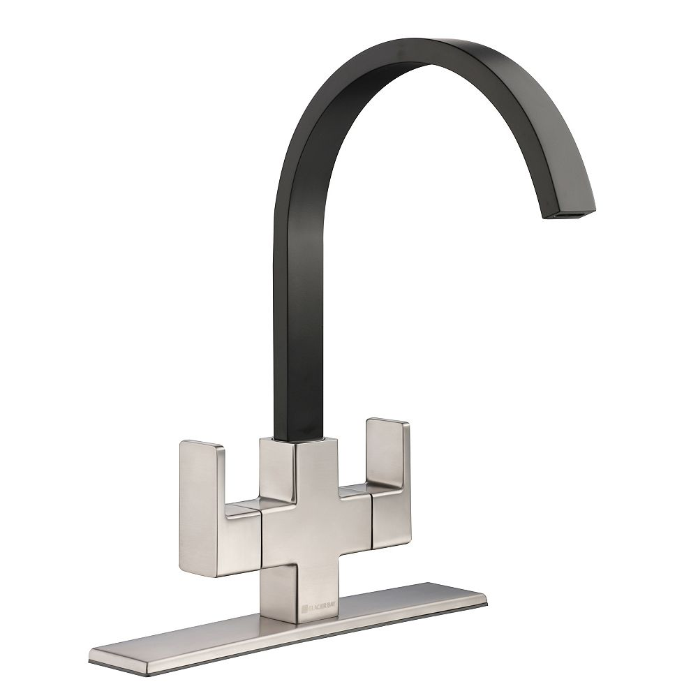 Glacier Bay Farrington Contemporary 2-Handle High-Arc Standard Kitchen Faucet in Stainless Steel and Matte Black