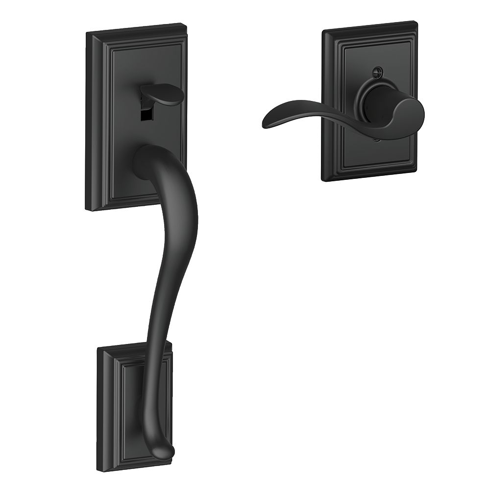 Schlage Addison Matte Black  lower half handleset and Accent lever compatible with an electronic deadbolt