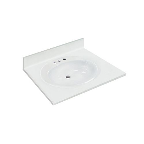 25 inch W x 22 inch D White Vanity Top with Oval Recessed Bowl