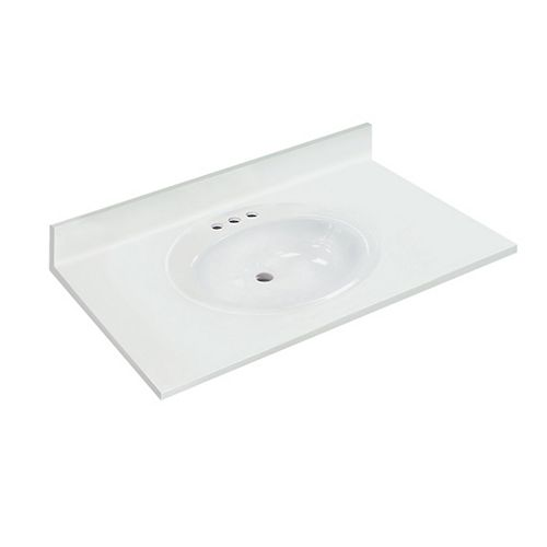37-inch W x 22-inch D White Vanity Top with Oval Recessed Bowl