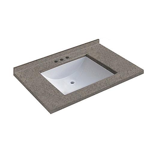 Dessus noyer de 78,74 cm [31 po] larg.x 55,88 cm [22 po] prof. avec lavabo rectangulaire
