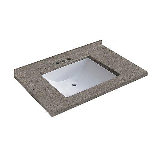 31 inch W x 22 inch D Walnut Vanity Top with Wave Bowl