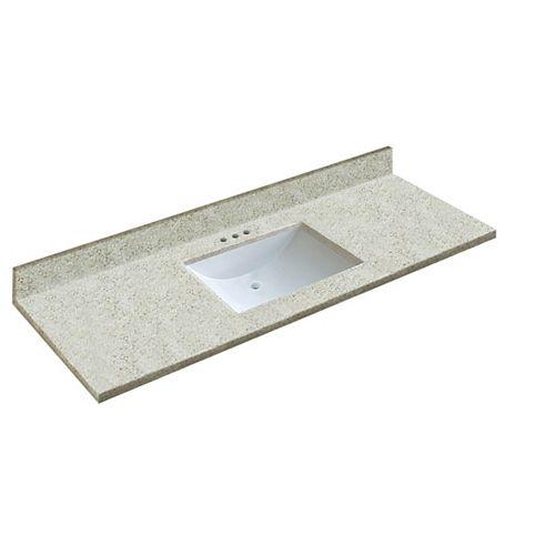 61 inch W x 22 inch D Walnut Vanity Top with Wave Bowl