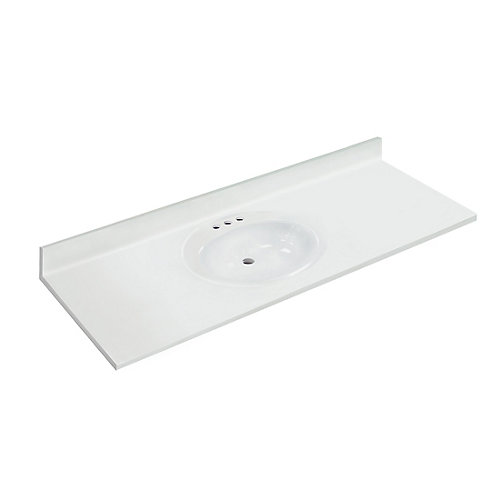 61 inch W x 22 inch D White Vanity Top with Oval Recessed Bowl (SB)