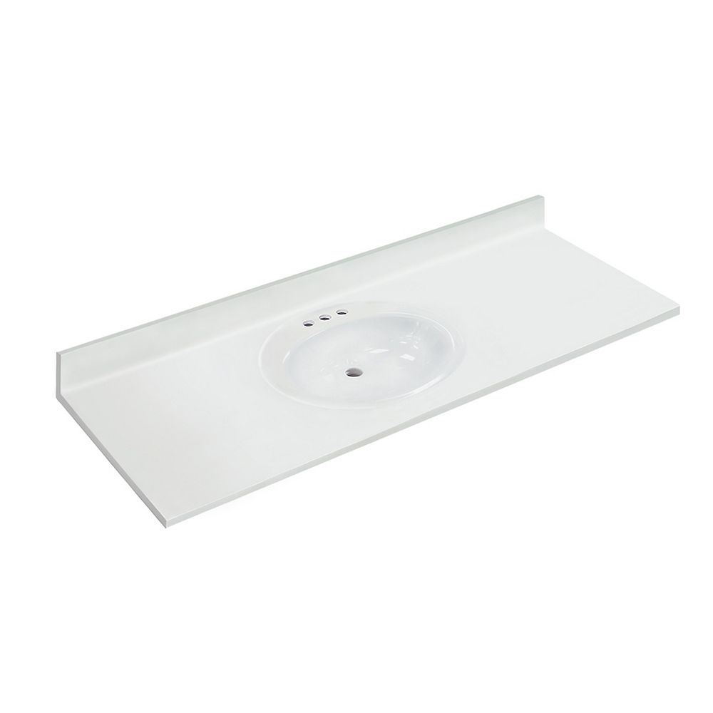 Magick Woods 61 inch W x 22 inch D White Vanity Top with Oval Recessed Bowl (SB)
