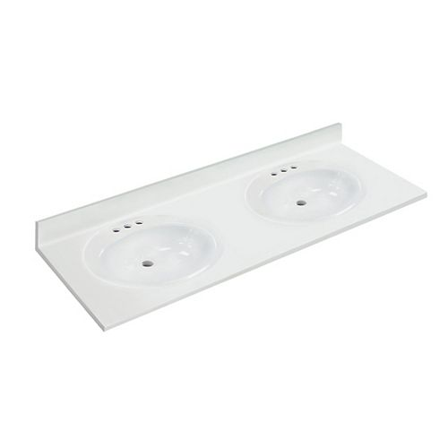 61 inch W x 22 inch D White Vanity Top with Oval Recessed Bowls (DB)