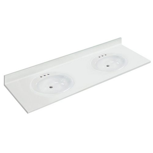 73 inch W x 22 inch D White Vanity Top with Oval Recessed Bowls (DB)