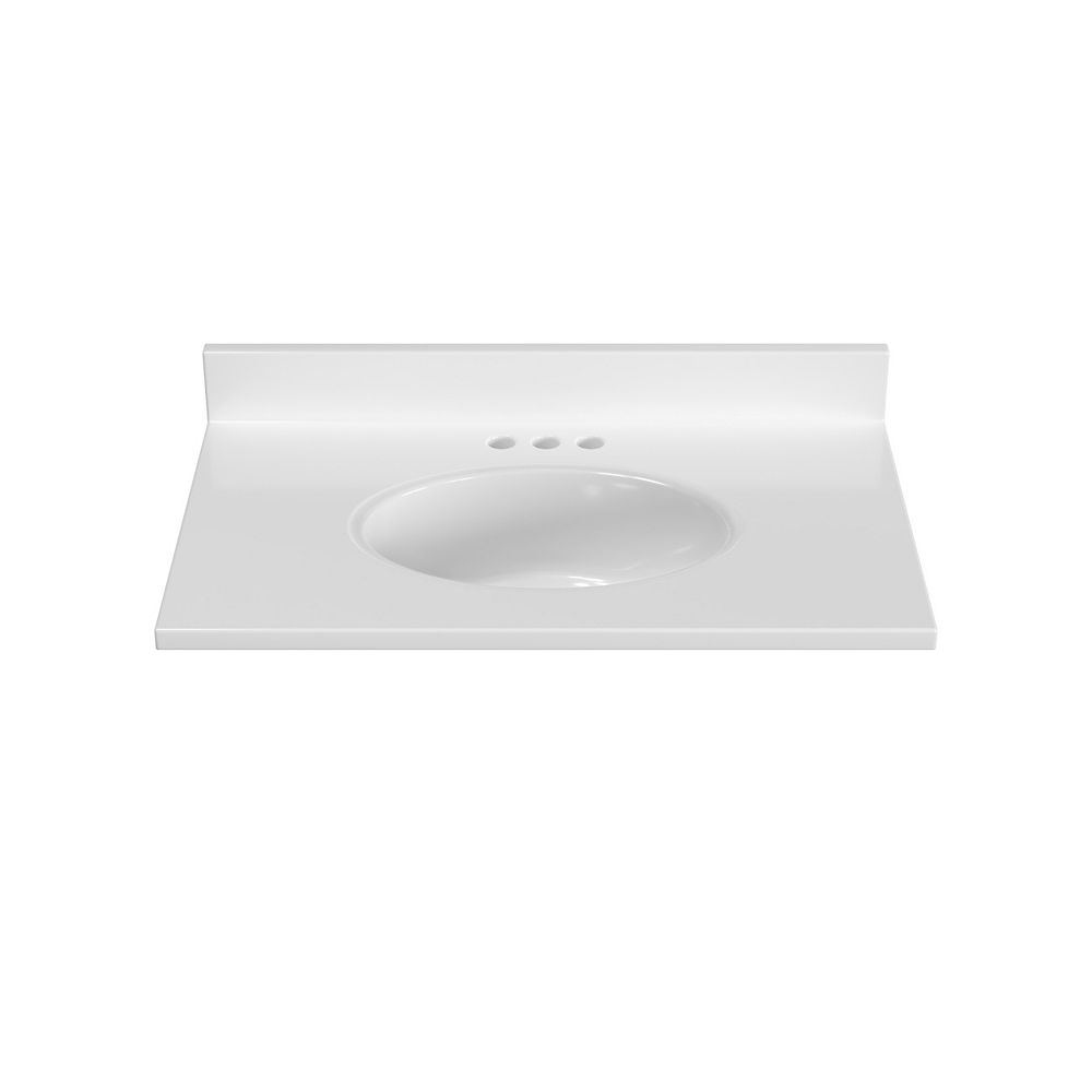 Magick Woods 31 inch W x 19 inch D White Vanity Top with Oval Non-recessed Bowl