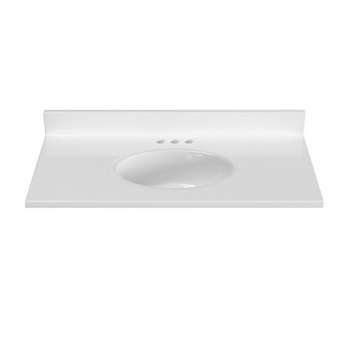 37 inch W x 19 inch D White Vanity Top with Oval Non-recessed Bowl