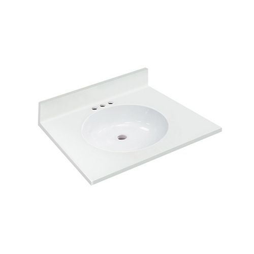 25 inch W x 22 inch D White Vanity Top with Oval Non-recessed Bowl