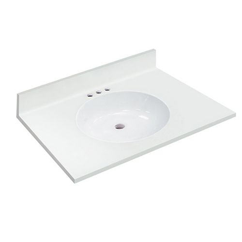 31 inch W x 22 inch D White Vanity Top with Oval Non-recessed Bowl