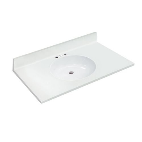 37 inch W x 22 inch D White Vanity Top with Oval Non-recessed Bowl
