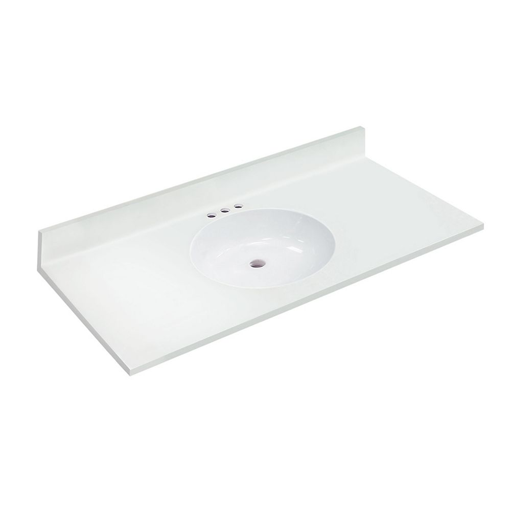 Magick Woods 49 inch W x 22 inch D White Vanity Top with Oval Non-recessed Bowl