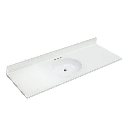Dessus blanc de 1,54 m [61 po] larg. x 55,88 cm [22 po] prof. avec lavabo non encastré
