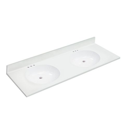 61 inch W x 22 inch D White Vanity Top with Oval Non-recessed Bowls (DB)