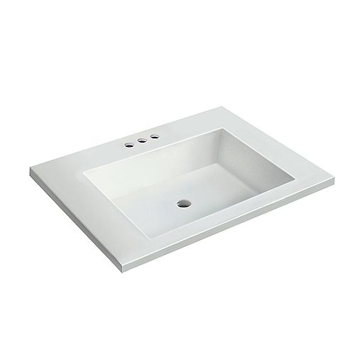 25 inch W x 19 inch D White Vanity Top with Rectangle Bowl