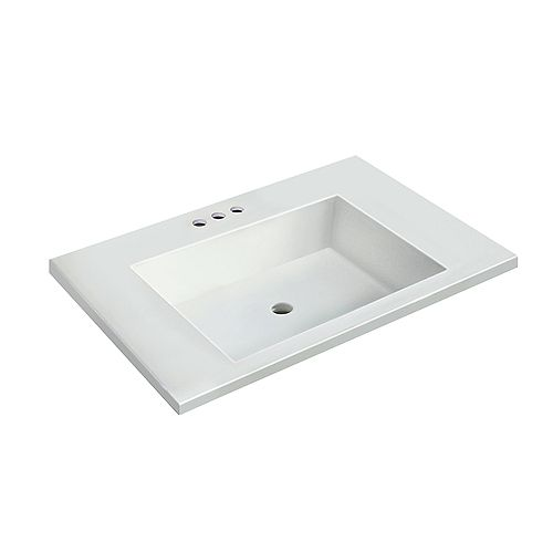 31 inch W x 19 inch D White Vanity Top with Rectangle Bowl