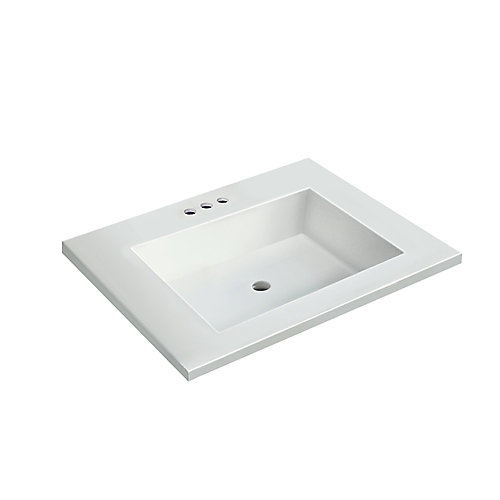 25 inch W x 22 inch D White Vanity Top with Rectangle Bowl