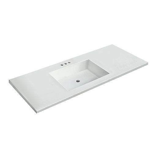 49 inch W x 22 inch D White Vanity Top with Rectangle Bowl