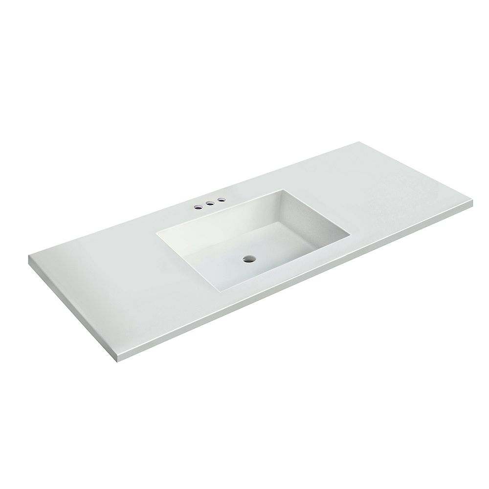 Magick Woods 49 inch W x 22 inch D White Vanity Top with Rectangle Bowl
