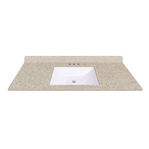 49 inch W x 22 inch D Dune Vanity Top with Wave Bowl
