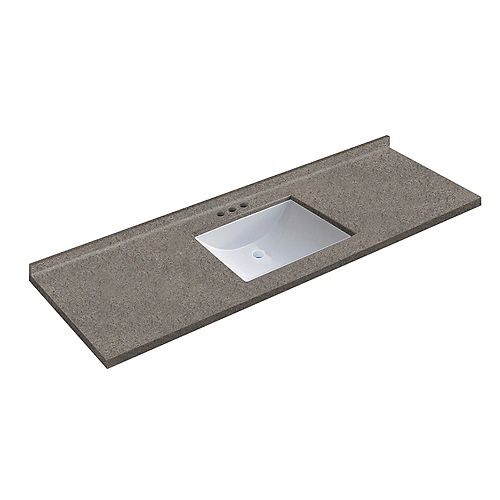 61 inch W x 22 inch D Dune Vanity Top with Wave Bowl