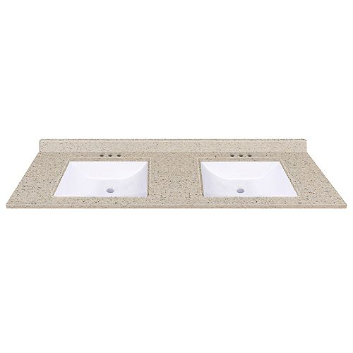 61 inch W x 22 inch D Dune Vanity Top with Wave Bowls (DB)