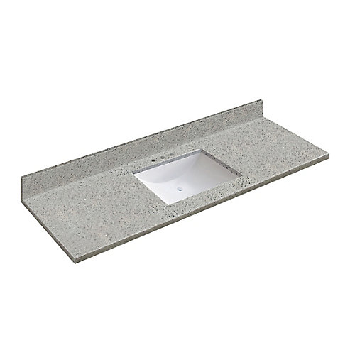 61 inch W x 22 inch D Napoli Vanity Top with Wave Bowl