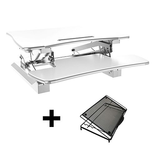 Posidesk 29-inch Medium Executive Sit-Stand Desk with  Smart Rail for Mobile Devices, White with Adjustable Laptop Stand Bundle